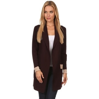 High Secret Women's Block-Color Draped Neck Open Front Cardigan