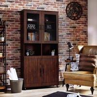 Furniture of America Bara Rustic Vintage Walnut 74-inch Bookcase