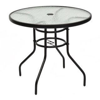 """31 1/2"""" Patio Round Table Tempered Glass Steel Frame Outdoor Garden"""