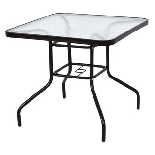 """31 1/2""""Patio Square Steel Frame Dining Table Patio Furniture Glass Top"""