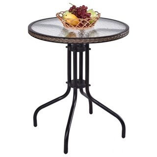 """24"""" Patio Furniture Glass Top Round Table Steel Frame Dining Table"""