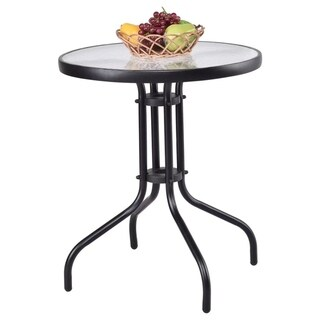 """24"""" Patio Round Table Tempered Glass Steel Frame Outdoor Yard"""