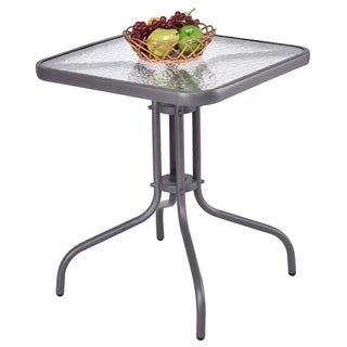 """24"""" Glass Top Patio Square Table Steel Frame Dining Table Garden"""