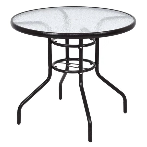 Sensational 31 1 2 Patio Round Steel Frame Dining Table Patio Furniture Glass Top Home Interior And Landscaping Mentranervesignezvosmurscom