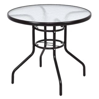 """31 1/2"""" Patio Round Steel Frame Dining Table Patio Furniture Glass Top"""