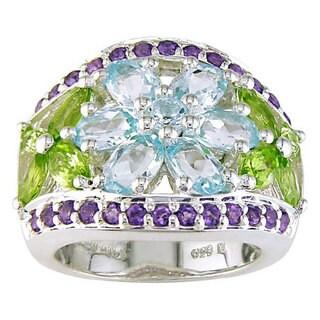Miadora Sterling Silver Multi-Gemstone Ring
