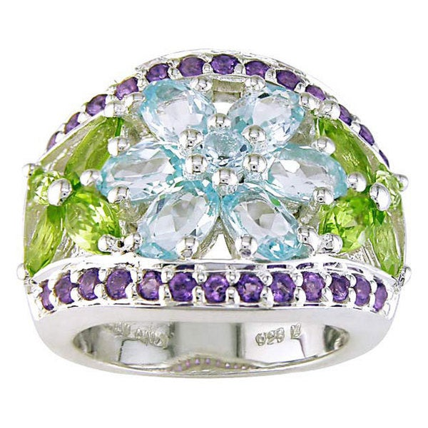 Miadora Sterling Silver Multi-Gemstone Ring