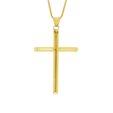 14k Yellow Gold Traditional Cross Religious Pendant and Flat Wheat Chain