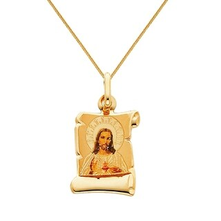 14k Yellow Gold and Enamel Sacred Heart of Jesus Religious Pendant and Square Wheat Chain
