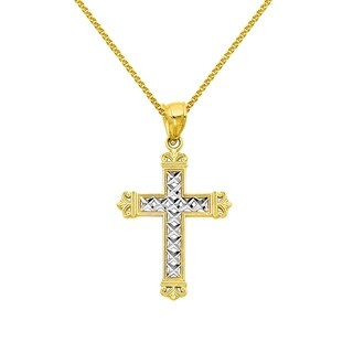 14k Two-tone Gold Fancy Cross Religious Pendant and Flat Wheat Chain