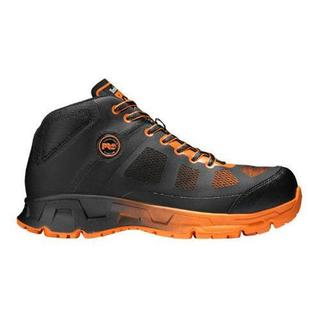 Men's Timberland PRO Velocity Alloy Toe Mid Work Boot Black Synthetic/Orange