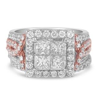 14k White Gold 2.76ct TDW Diamond Square Composite Engagement Ring Set (H-I,I1), Size 7