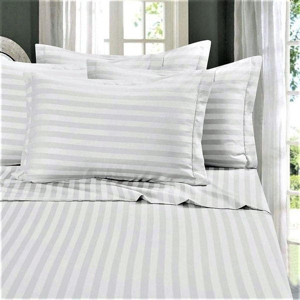 Just Linen Hotel Collection, 400 Thread Count 100% Cotton Sateen, Pencil  Striped White