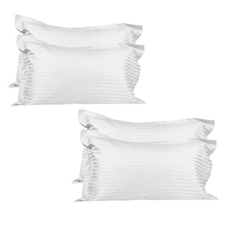 Just Linen Hotel Collection, 400 Thread Count 100% Cotton Sateen, Pencil Striped White, Pack of 4 Pillowcases