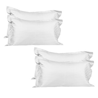 Just Linen Hotel Collection, 400 Thread Count 100 Cotton Sateen, Pencil Striped White, Pack of 4 Pillowcases