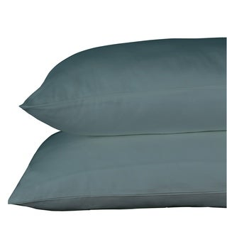 Just Linen 650 Thread Count 100% Egyptian Quality Cotton Sateen, Solid Medium Aqua, Pack of 2 Queen Pillowcases