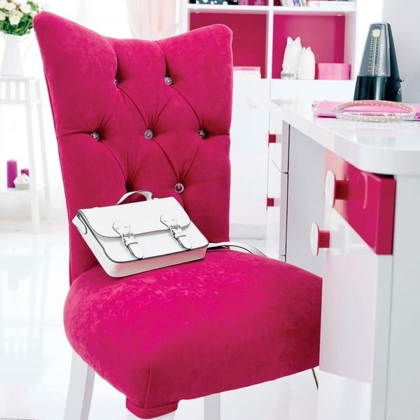 Cilek Rosa Pink Velvet Upholstered Chair