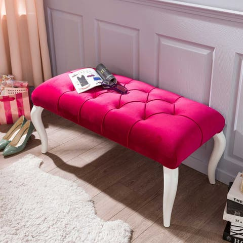 Cilek Rosa Pink Velvet Upholstered Bench with Cushion