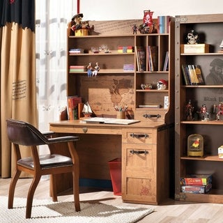Cliek Pirate Brown Wood Desk With Hutch