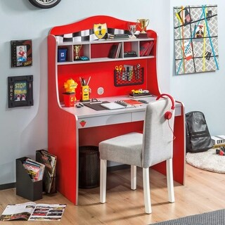 Cliek Race Cup Red Wood Desk With Hutch