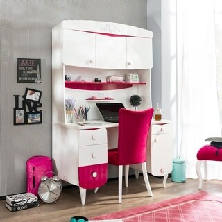 Cilek Bohemian Rosa White/Pink Hutch with USB Charger