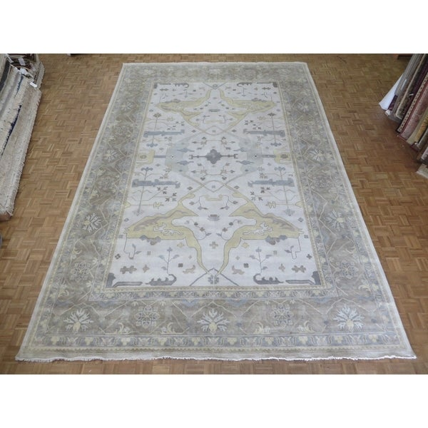 Hand Knotted Ivory Wool Oushak Oriental Area Rug 11 10 X 17 11