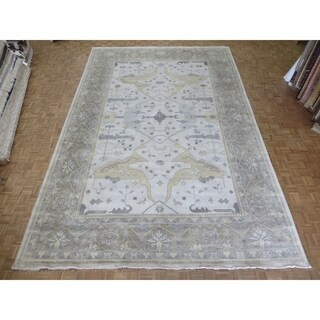 Hand-knotted Ivory Wool Oushak Oriental Area Rug (11' 10 x 17' 11)