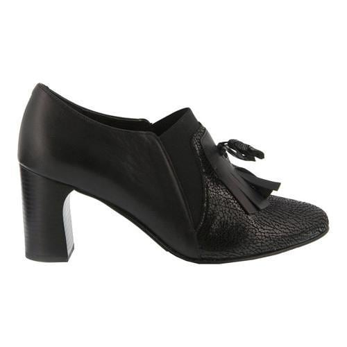 ... Women's Spring Step Dixichic Heeled Kiltie Loafer Black Leather ...
