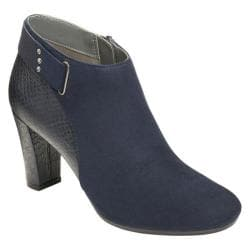 Women's A2 by Aerosoles Honesty Ankle Boot Navy Combo Faux Suede/Faux Leather