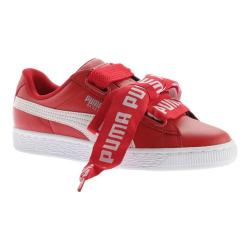 Women's PUMA Basket Heart DE Sneaker Toreador/PUMA White