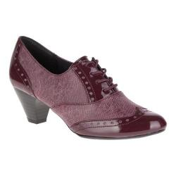 Women's Soft Style Gianna Heeled Wing-Tip Oxford Bordeaux Faux Tweed/Patent