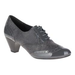Women's Soft Style Gianna Heeled Wing-Tip Oxford Dark Grey Faux Tweed/Patent
