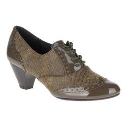 Women's Soft Style Gianna Heeled Wing-Tip Oxford Olive Night Faux Tweed/Patent