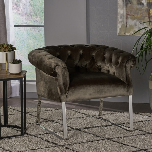 Celka Modern Tufted Velvet Club Chair by Christopher Knight Home