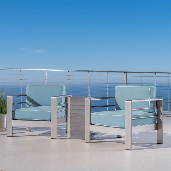 Shop Cape Coral Outdoor Aluminum 3 Piece Chat Set With