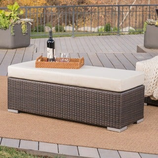 Etonnant Santa Rosa Outdoor Wicker Bench With Cushion By Christopher Knight Home