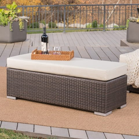 Santa Rosa Outdoor Wicker Bench with Cushion by Christopher Knight Home