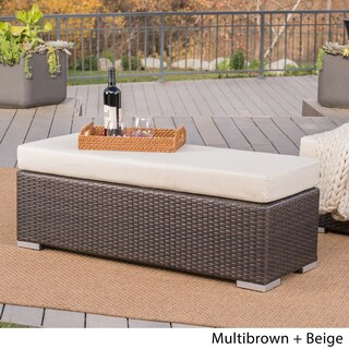 Santa Rosa Outdoor Wicker Bench with Cushion by Christopher Knight Home (2 options available)