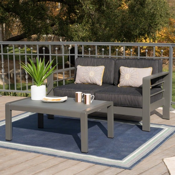 Cape Coral Outdoor Aluminum 2-piece Set with Cushions by Christopher Knight Home. Opens flyout.