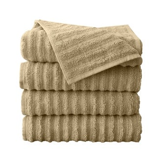 Fine Combed Zero Twist Ribbed Bath Towels (4Pack)