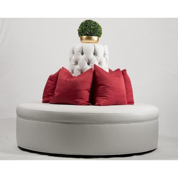 White Faux Leather Round Borne Settee Banquette Sofa