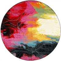 "Home Dynamix Splash Brightly Colored Abstract Round Area Rug ( 5'2"")"