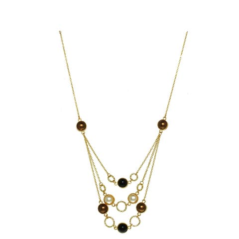 Three-Row Glass Pearl Bib Necklace - Gold