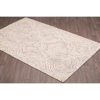 Rangoli Ivory/Multicolor Wool Handmade Area Rug (5'x 8')
