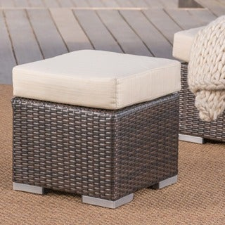 Santa Rosa Outdoor 16-inch Square Wicker Ottoman with Cushion by Christopher Knight Home (2 options available)