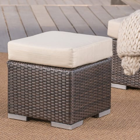 Santa Rosa Outdoor 16-inch Square Wicker Ottoman with Cushion by Christopher Knight Home