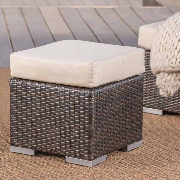 Santa Rosa Outdoor 16 Inch Square Wicker Ottoman With Cushion By Christopher Knight Home