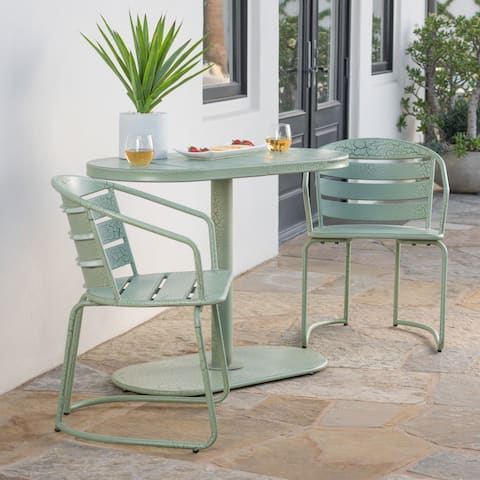 Santa Monica Outdoor 3 Piece Oval Bistro Chat Set By Christopher Knight Home