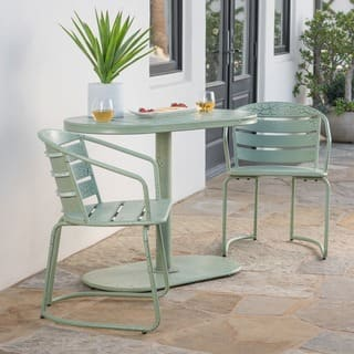 Santa Monica Outdoor 3-Piece Oval Bistro Chat Set by Christopher Knight Home