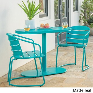 Santa Monica Outdoor 3-Piece Oval Bistro Chat Set by Christopher Knight Home (Option: matte teal)